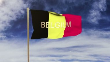 Belgium flag with title waving in the wind. Looping sun rises style.  Animation loop — Stock Video