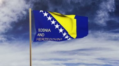 Bosnia and Herzegovina flag with title waving in the wind. Looping sun rises style.  Animation loop — Stock Video
