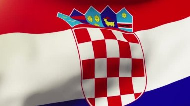 Croatia flag waving in the wind. Looping sun rises style.  Animation loop — Vídeo stock