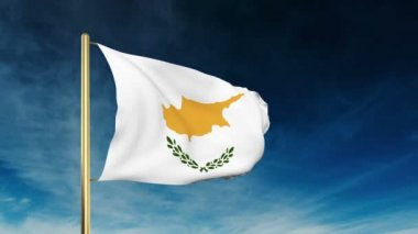 Cyprus flag slider style. Waving in the wind with cloud background animation — Stock Video