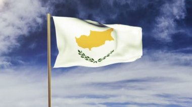 Cyprus flag waving in the wind. Looping sun rises style.  Animation loop. Green screen, alpha matte. Loopable animation — Stok video