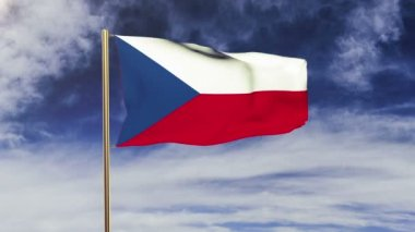 Czech Republic flag waving in the wind. Looping sun rises style.  Animation loop. Green screen, alpha matte. Loopable animation — Stock Video