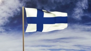 Finland flag waving in the wind. Looping sun rises style.  Animation loop. Green screen, alpha matte. Loopable animation — Stok video