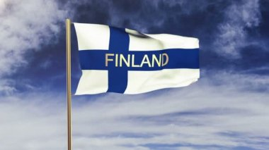 Finland flag with title waving in the wind. Looping sun rises style.  Animation loop — Stok video