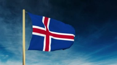 Iceland flag slider style. Waving in the wind with cloud background animation — Stock Video