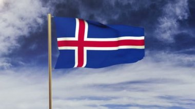 Iceland flag waving in the wind. Looping sun rises style.  Animation loop. Green screen, alpha matte. Loopable animation — Stock Video