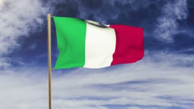 Italy flag waving in the wind. Looping sun rises style.  Animation loop. Green screen, alpha matte. Loopable animation — Stok video