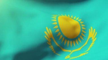 Kazakhstan flag waving in the wind. Looping sun rises style.  Animation loop — Video Stock