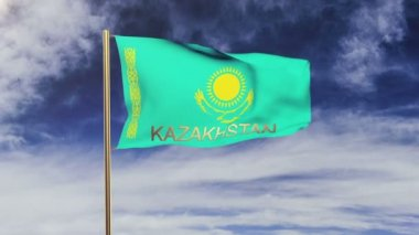 Kazakhstan flag with title waving in the wind. Looping sun rises style.  Animation loop — Stock Video