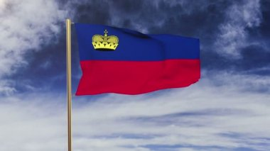 Liechtenstein flag waving in the wind. Looping sun rises style.  Animation loop. Green screen, alpha matte. Loopable animation — Stok video