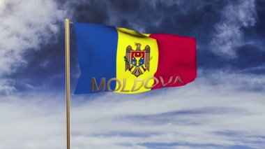 Moldova flag with title waving in the wind. Looping sun rises style.  Animation loop — Stock Video