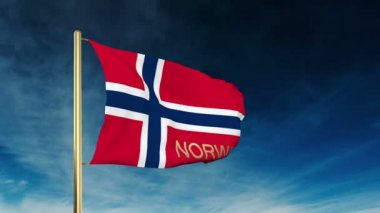 Norway flag slider style with title. Waving in the wind with cloud background animation — Stock Video