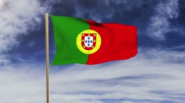 Portugal flag waving in the wind. Looping sun rises style.  Animation loop. Green screen, alpha matte. Loopable animation — Stok video