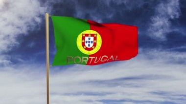 Portugal flag with title waving in the wind. Looping sun rises style.  Animation loop — Stock Video