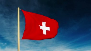 Switzerland flag slider style. Waving in the wind with cloud background animation — Stock Video