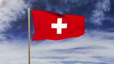 Switzerland flag waving in the wind. Looping sun rises style.  Animation loop. Green screen, alpha matte. Loopable animation — Stockvideo