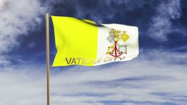 Vatican City flag with title waving in the wind. Looping sun rises style.  Animation loop — Stok video