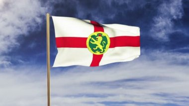 Alderney flag waving in the wind. Green screen, alpha matte. Loopable animation — Stock Video