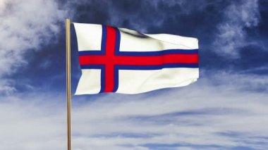 Faroe Islands flag waving in the wind. Green screen, alpha matte. Loopable animation — Stock Video