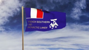 French Southern And Antarctic Lands flag with title waving in the wind. Looping sun rises style.  Animation loop — Stock Video