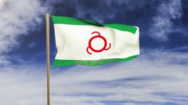Ingushetia flag with title waving in the wind. Looping sun rises style.  Animation loop — Stock Video