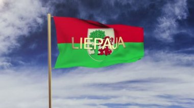 Liepaja flag with title waving in the wind. Looping sun rises style.  Animation loop — Stock video
