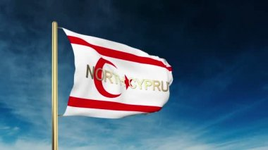 North Cyprus flag slider style with title. Waving in the wind with cloud background animation — Stock Video