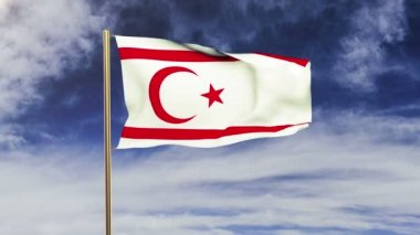North Cyprus flag waving in the wind. Green screen, alpha matte. Loopable animation — Stock Video