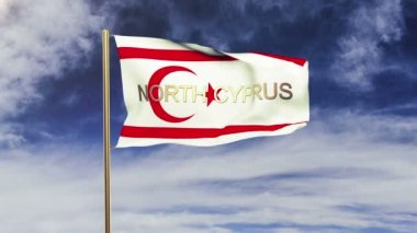 North Cyprus flag with title waving in the wind. Looping sun rises style.  Animation loop — Stock Video