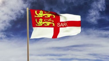 Sark flag with title waving in the wind. Looping sun rises style.  Animation loop — Stock Video