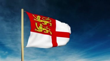 Sark flag slider style. Waving in the win with cloud background animation — Stock Video