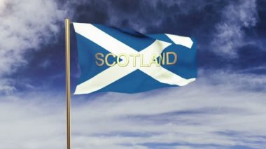 Scotland flag with title waving in the wind. Looping sun rises style.  Animation loop — Stock Video