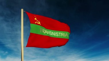 Transnistria flag slider style with title. Waving in the wind with cloud background animation — Stock Video