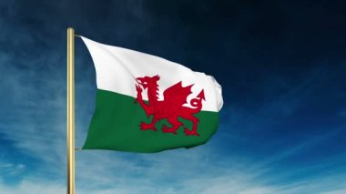 Wales flag slider style. Waving in the win with cloud background animation — Stock Video
