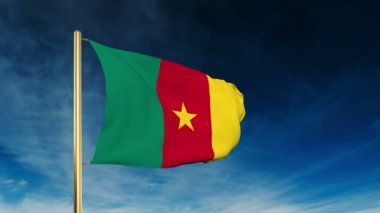 Cameroon flag slider style. Waving in the wind with cloud background animation — Stock Video