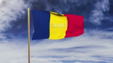 Chad flag with title waving in the wind. Looping sun rises style.  Animation loop — Stock Video