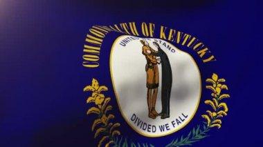 Bandeira de Kentucky balançando ao vento. Loop de sol nasce o estilo. Loop de animação — Vídeo stock