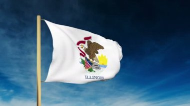 Illinois flag slider style. Waving in the win with cloud background animation — Stock Video