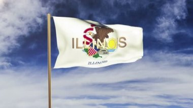 Illinois flag with title waving in the wind. Looping sun rises style.  Animation loop — Stock Video