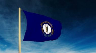 Kentucky flag slider style. Waving in the win with cloud background animation — Stock Video