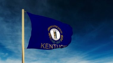 Kentucky flag slider style with title. Waving in the wind with cloud background animation — ストックビデオ