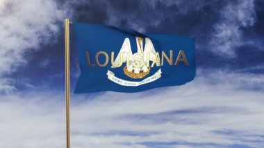 Louisiana flag with title waving in the wind. Looping sun rises style.  Animation loop — Stock Video