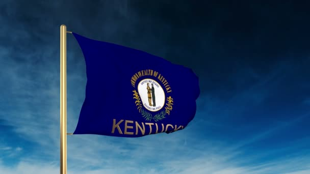 Kentucky flag slider style with title. Waving in the wind with cloud background animation — Vídeo de stock