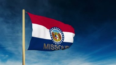 Missouri flag slider style with title. Waving in the wind with cloud background animation — Stock Video