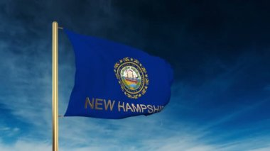 New hampshire flag slider style with title. Waving in the wind with cloud background animation — Stock Video