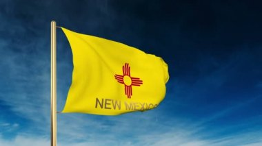 New mexico flag slider style with title. Waving in the wind with cloud background animation — Stock Video