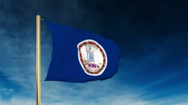 Virginia flag slider style. Waving in the win with cloud background animation — Stok video