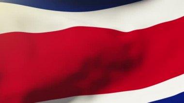 Costa Rica-Fahnenschwingen in den Wind. Schleifen der Sonne steigt Stil. Animationsschleife — Stockvideo