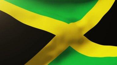 牙买加国旗在风中飘扬。循环太阳升起的风格。动画循环 — 图库视频影像