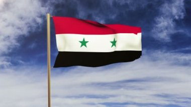 Syria flag waving in the wind. Green screen, alpha matte. Loopable animation — 图库视频影像